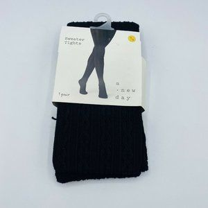 1 Pair Women's Footed Sweater Tights | M/L | Black